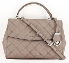 Michael Kors Women's Cinder Taupe Ava Quilted Leather Satchel Purse