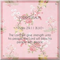 The Lord will give strength unto his people; The Lord will bless His people with peace. ~ Psalm 29:1 KJV