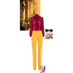 Victoria by blueeyed-dreamer on Polyvore featuring Victoria, Victoria Beckham, Steve Madden, Gucci, Yves Saint Laurent, WorkWear, sunglasses, sheer, bright and blouse