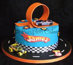 Yummy chocolate mud cake in a Hot Wheels design.