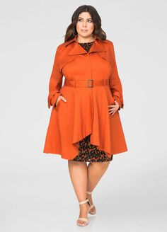 Plus Size Belted Trench Coat