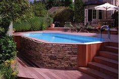 Popular Above Ground Pool Deck Ideas. This is just for you who has a Above Ground Pool in the house. Having a Above Ground Pool in a house is a great idea. Tag: a budget small yards Above Ground Pool Landscaping, Small Backyard Pools, Backyard Pool Landscaping, Small Pools, Outdoor Pool, Landscaping Ideas, Indoor Pools, Pool Fence, Sloping Backyard