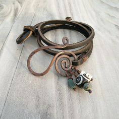 Leather Wrap Bracelet - Black Leather, Hammered Copper by GypsyIntent