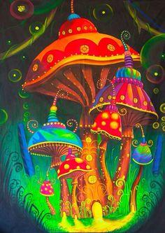 Mushroom Spacetown UV Painting - handmade on order blacklight active psychedelic psilo neon glowing multiple sizes Black Light Posters, Psy Art, Art Prints Online, Mushroom Art, Neon Glow, Hippie Art, Psychedelic Art, Fractal Art, Trippy