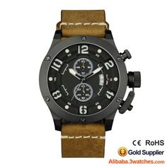 Fashion Chronograph Men Watch Genuine Leather Water Resistant 10ATM 3W-SW15, click picture to designs your own brand watch.