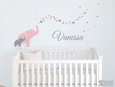 Elephants Wall Decal for Baby Girl Nursery  elephants decal