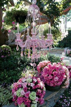 Beautiful pink chandelier and pink flowers for an outdoor wedding. Pink Garden, Dream Garden, Garden Whimsy, Roses Garden, Beautiful Gardens, Beautiful Flowers, Lustre Vintage, Pink Chandelier, Chandelier Ideas