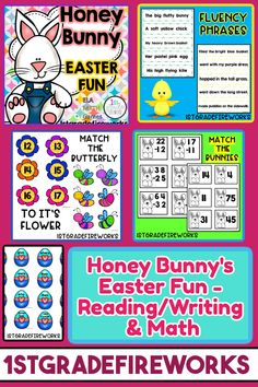 Easter Packet for Language Arts & Math - Spring worksheets for word work and writing. Math games for small groups and/or partner work. Student accountability worksheets for activities. Includes: Word Work /ar/ /or/ /ore/ - printables, word work cards, Wordsearch, word sort, shape words Hippity Hoppity HFW Game Fluency Phrases Addition Math Facts Adding Three Numbers Subtracting Double-Digit Numbers