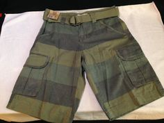 new with tags MEN'S ROUTE 66 CARGO green striped SHORTS W/ BELT waist SIZE 30 #Route66 #Cargo