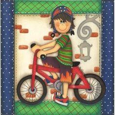 Papel decoupage menino com bicicleta