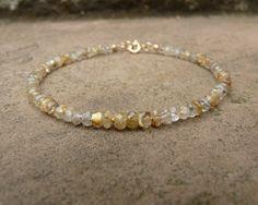 Yellow Rutilated Quartz Gemstone Bracelet. Yellow Gemstone Bracelet. Small Beaded Bracelet. Boho. Gemstone. Minimalistic. Healing Crystal.