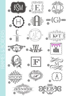 Monograms Made Easy: 72 Fonts  Frames - damask love -- great examples of how to use all those fun fonts to make awesome monograms