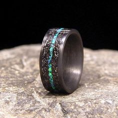 Meteorite Shavings with Blue Green Lab Opal Inlay by HolzRingShop