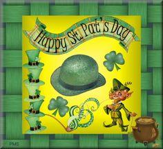 Happy St. Patrick's Day Tag #Leprechaun #Clover #Irish Pipe Hat #Pot ...