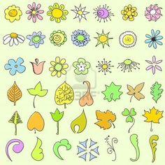 Doodle bloemen en bladeren - instellen  Stockfoto