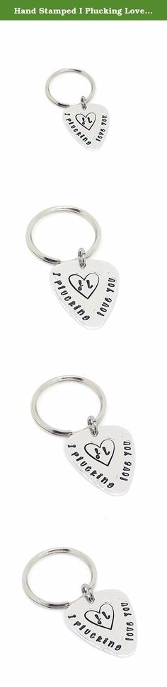 Hand Stamped I Plucking Love You Keychain Personalized Guitar Pick - Anniversary Gift - Hand Stamped Guitar Pick - Custom Guitar Pick. This hand stamped keychain is the perfect gift for that special someone in your life. These blanks are made from food safe, hypoallergenic aluminum that will not change color. As always, adult supervision is required when small children are wearing jewelry. Since small parts can be dangerous with little ones, we recommend supervision at all times while...