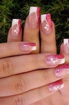 Fabulous Nails, Gorgeous Nails, Pretty Nails, Fancy Nails, Pink Nails, Gel Nails, Toenails, White Nail Designs, Cool Nail Designs