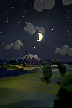 Low Poly Night Scene