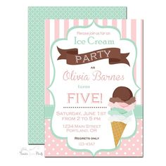Ice Cream Birthday Party Invitation | www.foreveryourprints.com