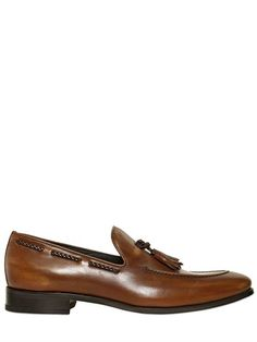 $595, Brown Leather Tassel Loafers: Bruno Magli Hand Brushed Tasseled Leather Loafers. Sold by LUISAVIAROMA. Click for more info: https://lookastic.com/men/shop_items/207849/redirect