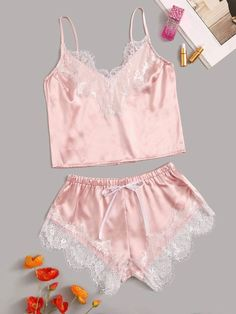 Lace Satin Cami With Shorts Floral Lace Satin Cami With Shorts - Popviva Cute Sleepwear, Lingerie Sleepwear, Nightwear, Lingerie Underwear, Cute Pijamas, Night Outfits, Fashion Outfits, Ropa Interior Babydoll, Cute Pajama Sets