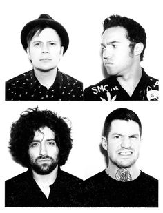 Fall Out Boy in black and white <3 Pete would be staring at Patrick...