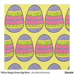 Yellow Happy Easter Egg Hunt Zig Zag Eggs Fabric
