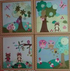 Quadros infantis com moldura em MDF pintada com PVA e estêncil de bolinhas
