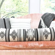 Inspired by the geometric patterns used by the Zapotec tribes of the Oaxaca region, this lumbar pillow's structural designs and black and white color scheme add a contemporary style update to your bed or couch. Aztec Pillows, Throw Pillows, Geometric Pillow, Geometric Patterns, Bed Wrap, Long Pillow, Tumblr Rooms, Gray Interior, Interior Design