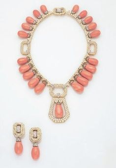 DAVID WEBB, A Magnificent Suite of Coral and Diamond Jewelry