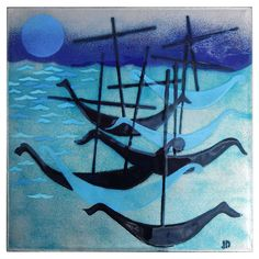 """ein-bleistift-und-radiergummi: """" Judith Daner Enamel Painting 'Gondolas at Night' 1950′s. """""""