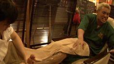 Kazuchika Okada getting his legs waxed - from the 10 Years Anniversary DVD