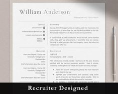 One Page Resume Template, Simple Resume Template, Creative Resume Templates, Marketing Resume, Sales Resume, Resume Words, Resume Writing, Graduate Jobs, Executive Resume