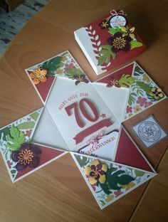 k-explosionsbox botanical blooms so viele jahre Box Cards Tutorial, Card Tutorials, Fancy Fold Cards, Folded Cards, Cool Cards, Diy Cards, Exploding Gift Box, Pop Up Box Cards, Interactive Cards