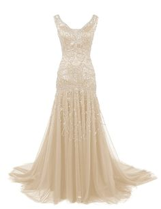 Dressystar V Neck Beaded Mermaid Wedding Prom Dress Evening Ball Gown Size10 Champagne