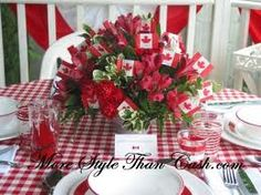 Canada Day Tablescape - More Style Than Cash Canada Day 150, Happy Canada Day, O Canada, Happy Day, Dominion Day, Happy Birthday Canada, Canada Day Party, Canadian Holidays, All About Canada