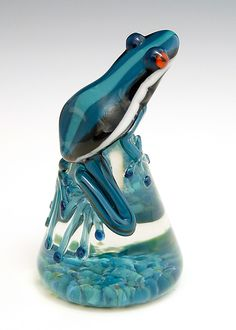 """Dark Teal Racer Stripe Frog""  Art Glass Paperweight  Created by Eric Bailey"
