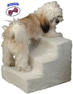 Pet Stairs. 3 Step Staircase Helps Small And Older Dog And Cat To High Bed, Sofa, Car. Indoor Deluxe Doggy Furniture Supplies. Easy Up For Puppies. * Want additional info? Click on the image.