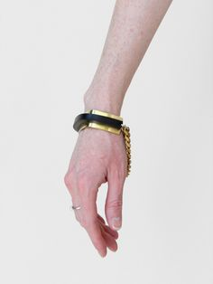 FAUX/real brass/rubber bangle bracelet