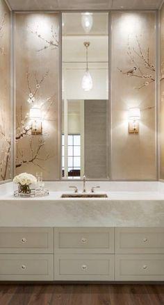 Bathroom / Powder Room - contemporary wallpaper with tall mirror and neutral colors Bathroom Interior, Modern Bathroom, Small Bathroom, Feminine Bathroom, Mirror Bathroom, Glamorous Bathroom, Bathroom Lighting, Bathroom Cabinets, Bathroom Fixtures