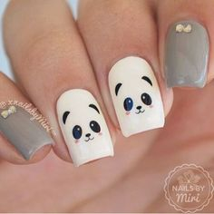 32 Lovely Animal Nail Art Designs Of 2020 Trendy Nail Art, Stylish Nails, Cute Nail Art, Cute Nails, Panda Nail Art, Animal Nail Art, Best Acrylic Nails, Acrylic Nail Designs, Nail Art Designs