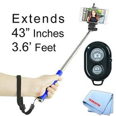 Extendable 43 inches SelfPortrait Handheld Selfie Monopod Blue  Bluetooth Wireless Remote Control Camera Shutter for HTC Desire 612 One M8 Desire 826 Desire 601 One max One mini 8XT First One One SV Desire C Droid DNA Windows Phone 8X Windows Phone 8S One VX One X One V Droid Incredible 4G LTE EVO 4G LTE One X One S Titan II Rezound Vivid Amaze 4G Wildfire S Rhyme Status Sensation ThunderBolt  other smartphones -- You can get additional details at the image link.