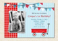 Red Wagon Birthday Invitations by LollipopPrints on Etsy, $10.00