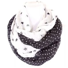 "B18 Black White Stars Polka Dot Infinity Scarf ‼️ PRICE FIRM UNLESS BUNDLED WITH OTHER ITEMS FROM MY CLOSET ‼️   Mixed Media Infinity Scarf  Fabulous scarf.  Black & white. This scarf is sure to dress up even the most basic outfit!  44"" long by 34"" wide.  Please check my closet for many more items including jewelry, shoes, handbags designer clothing & more! Boutique Accessories Scarves & Wraps"