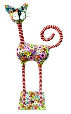 cat sculpture  bolt legs/tail/neck- black and white/////(Round shapes on base, body  and for eyes/ washers of various colors///on wire armature. Body and head, sculpy or paper mache.. with the washers glued on.. ((Idea))