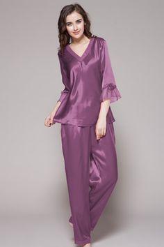 22 Momme Laced Silk Pyjamas Set