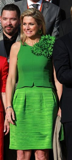 Queen Maxima Photos Photos: King Willem-Alexander and Queen Maxima Visit Hesse Queen Fashion, Royal Fashion, Queen Of Netherlands, Estilo Real, Queen Maxima, Green Dress, Peplum Dress, Glamour, Stylish
