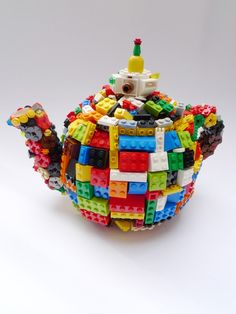 "Lego my teapot!!!   Saatchi Online Artist: Finn Stone; Assemblage / Collage, 2011, Mixed Media ""Toy Pot"""
