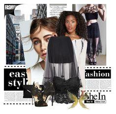 """Black Elastic Waist Embroidered Hem Mesh Skirt"" by farzija-duzel ❤ liked on Polyvore featuring Wet Seal and La Perla"