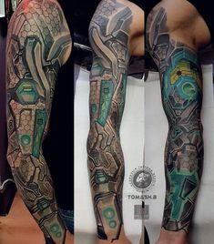 Cyberpunk sleeve ! amazing work by Tomash b #hydraulixtattoosstudio